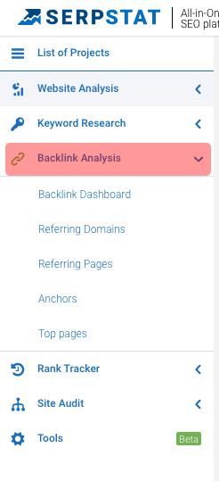 Backlink analysis menu on Serpstat