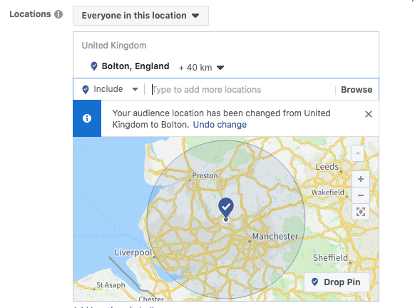 Location selection for your audience