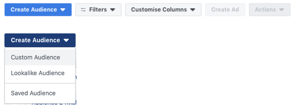 Tabs in Facebook to create audiences