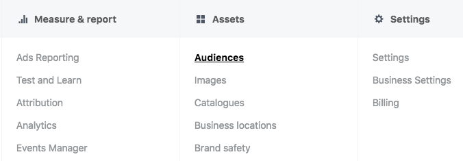 Facebook tab with audience highlighted