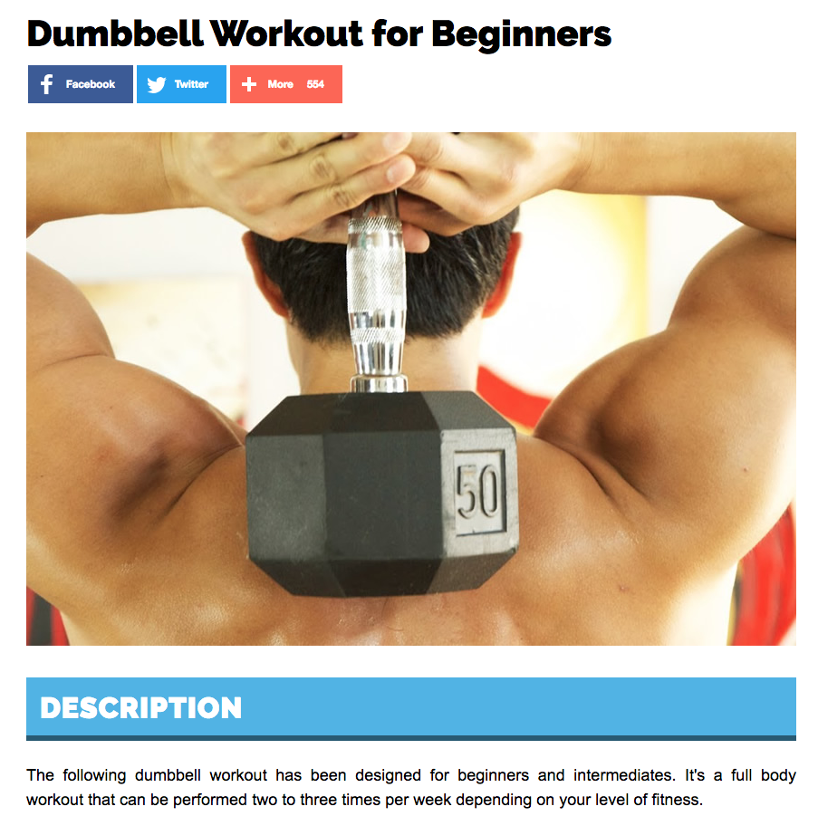 Dumbbell Blog - great example of content marketing in action