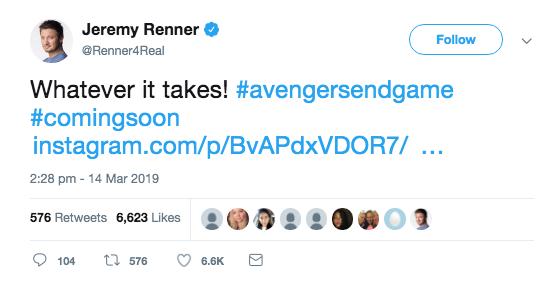 End Game actor tweet 2