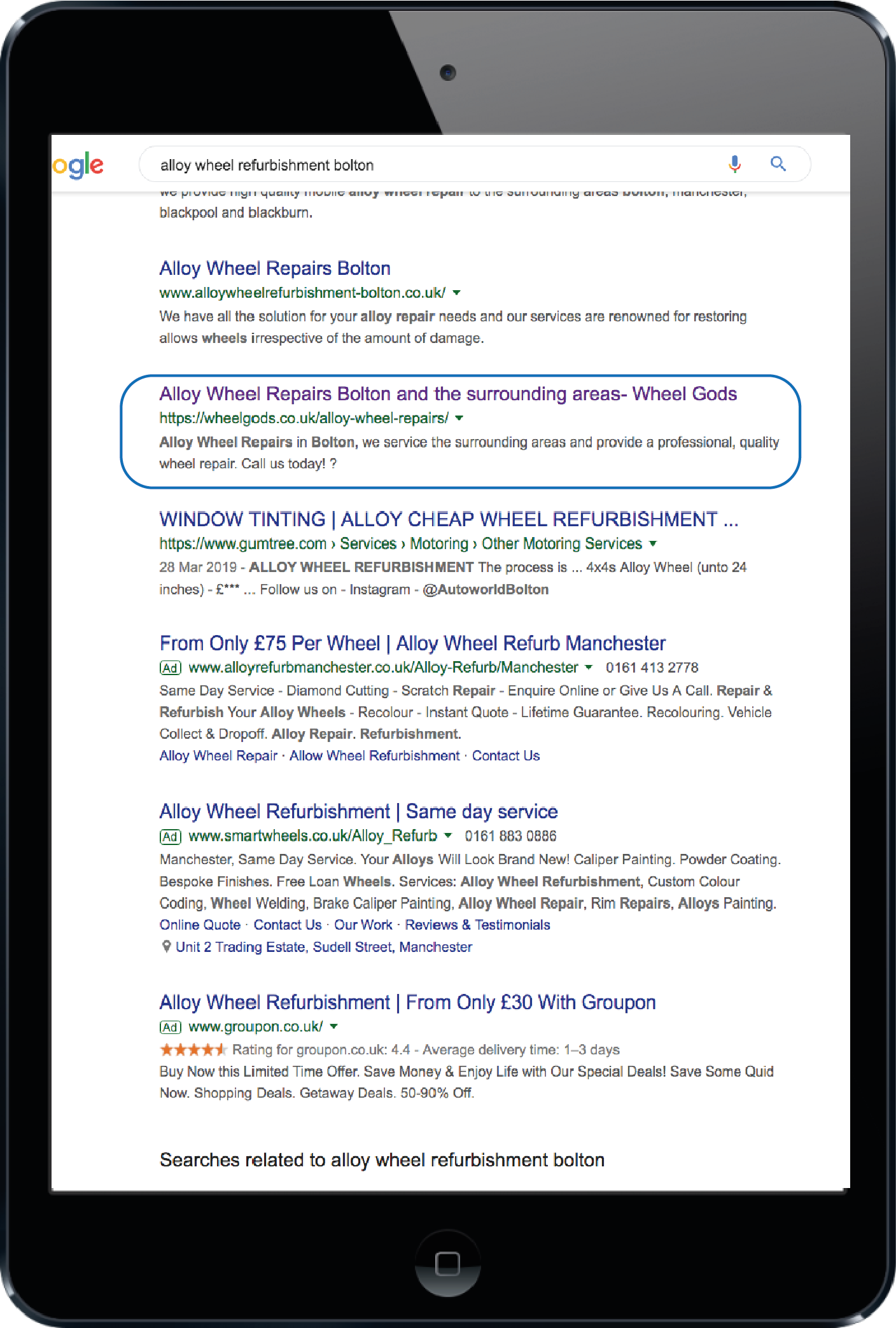 google rankings on tablet