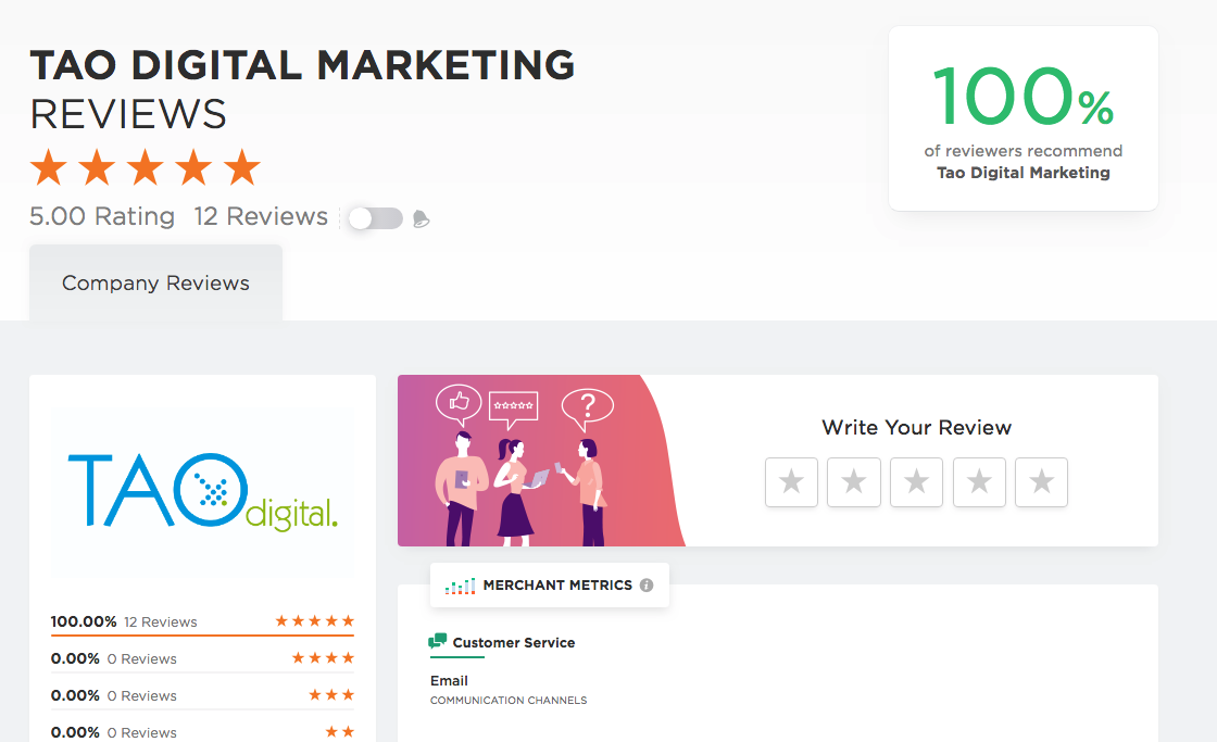 Tao Digital Marketing Company reviews page