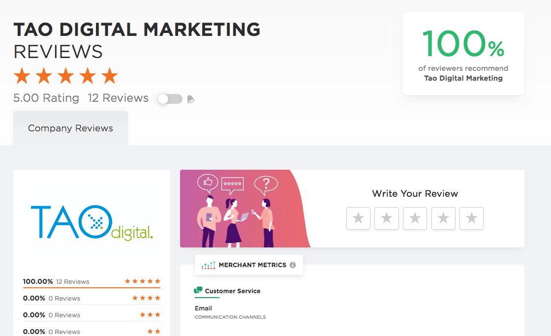Tao Digital Marketing Company reviews page