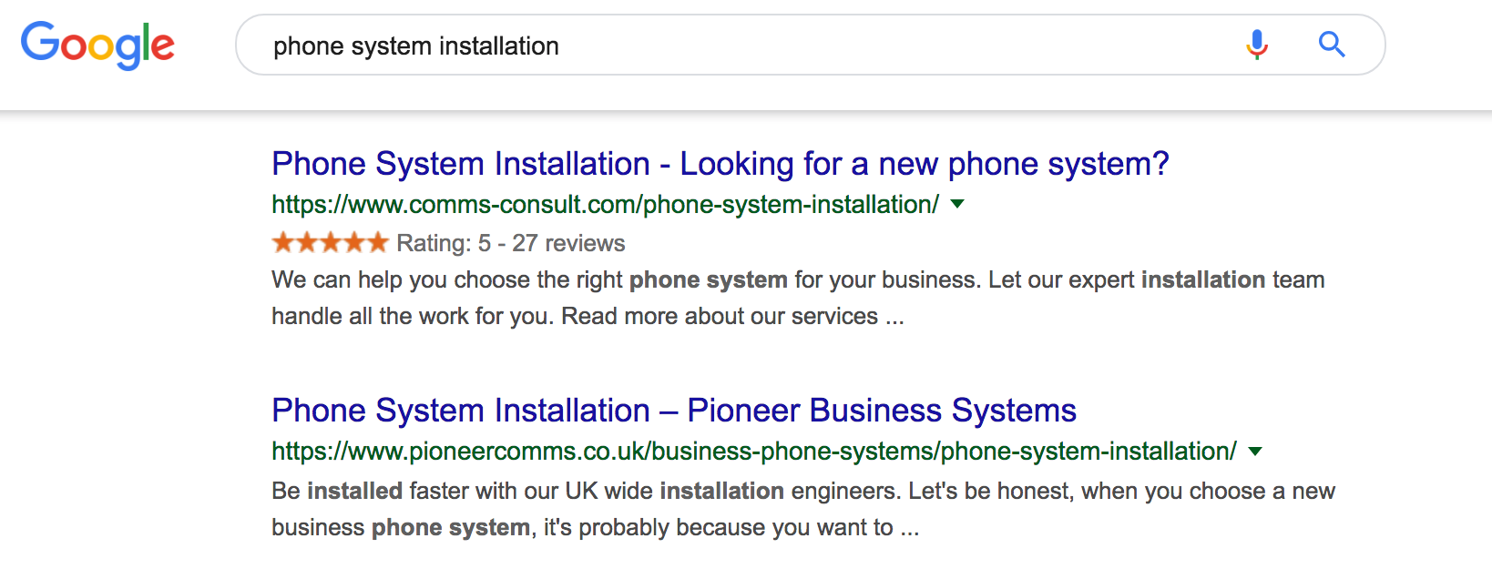 Company Gold stars in action, rich snippets for reviews