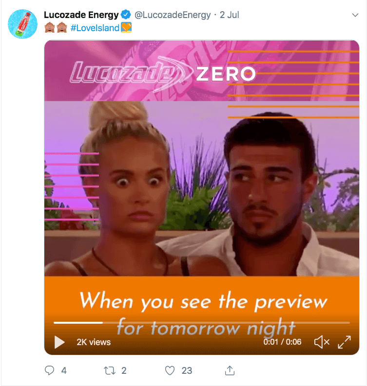 Lucozade Zero Gif with molly and tommy