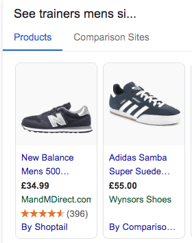 Use the price attribute - trainers showing price