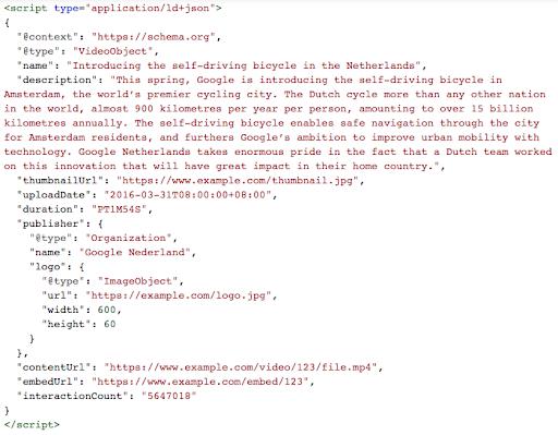 video schema code