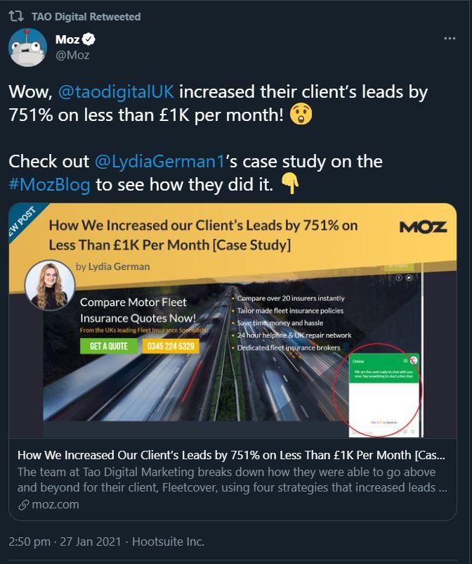 Moz shares Tao Digital Fleetcover case study on social media