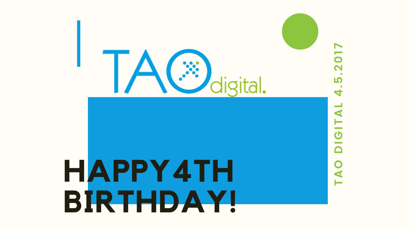 Graphic saying 'Happy 4th birthday Tao'