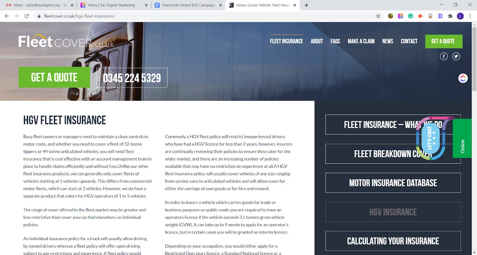 fleetcover hgv service page